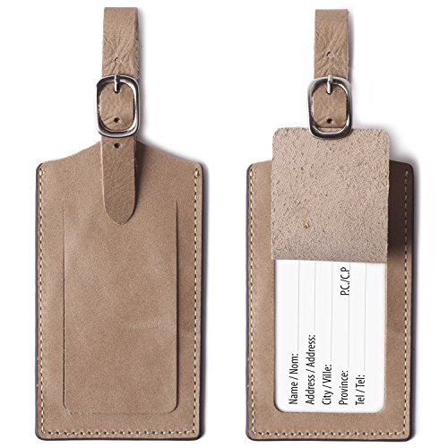 Genuine Leather Luggage Tags Bag Case Holders Baggage Travel Tag with Full Back Privacy Cover Apricot