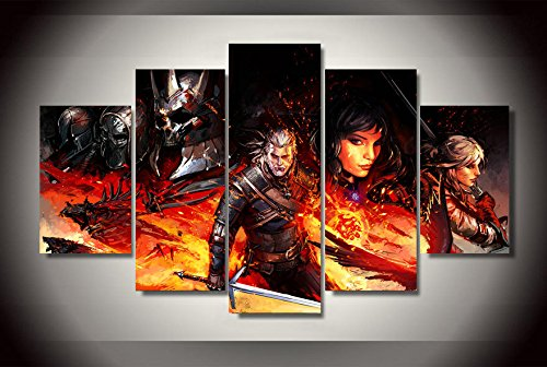 JESC Witcher 3 Comics Paintings on Canvas framed 5 Pcs Wall Pictures For Living Room Wall Art Modular Pictures