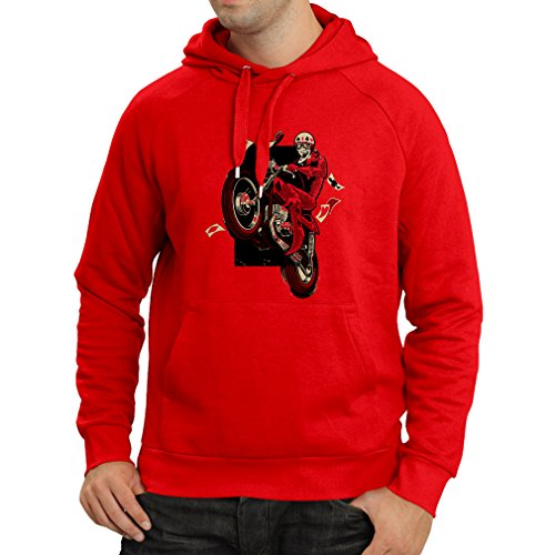 Outlaw Vintage Glove - Hoodie Motorcyclist - Motorcycle Clothing, Vintage Designs Retro Clothing (Medium Red Multi Color)