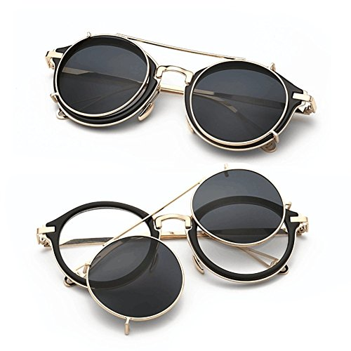 7d0afb41c28 Dollger Double Lens Flip up Clip On Sunglasses Steampunk Style and Round  Black Glasses for Men