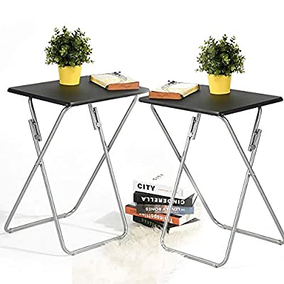 Aingoo Folding TV Trays Snack Metal Dinner Tray Small Side Table Black by Aingoo