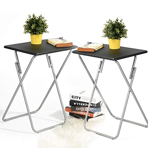 Modern Metal Stand Tv (Aingoo Folding TV Trays 2 Pcs Small Snack Metal Dinner Tray Side Table (Updatecd Wood Veneer) Black)