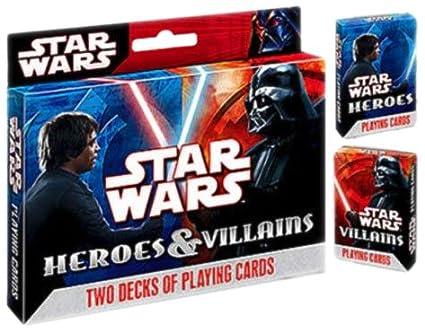 Stars Wars héroes y villanos Poker cartas - , 2 Pack: Amazon ...