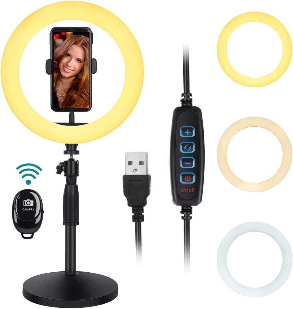 """Thustar 10"""" Led Ring Light, Selfie Ring Light with Stand and Phone Holder Dimmable Desktop Ring Light with 3 Light Colors,10 Brightness for Makeup/Live Stream/YouTube Video/Photography, Bluetooth"""