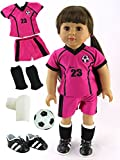 Pink & Black Soccer Player Outfit with Uniform, Shin Guards, Socks, Soccer Ball, and Shoes | Fits 18'' American Girl Dolls, Madame Alexander, Our Generation, etc. | 18 Inch Doll Clothes