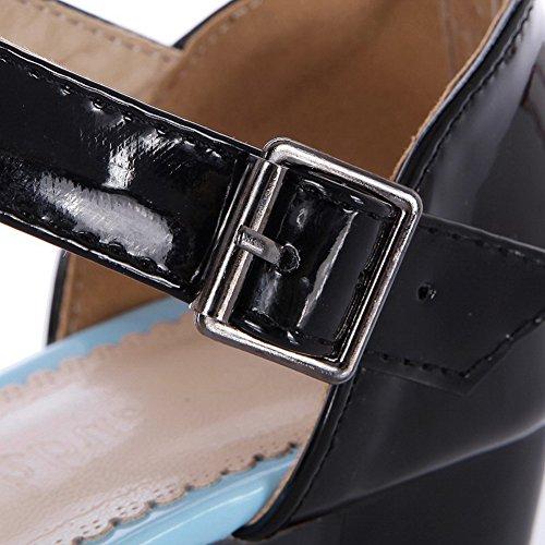 AgooLar Correct Ouverture Talon Verni à Bleu Sandales Boucle Femme Petite GMBLA012850 P7Pq6raUw