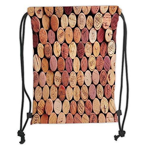 New Fashion Gym Drawstring Backpacks Bags,Wine,Random Selection of Used Wine Corks Vintage Quality Gourmet Taste Liquor,Mustard Mauve Maroon Soft Satin,Adjustable String Closure,T