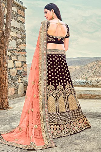 Da Facioun Donne Indiane Progettista Partywear Etnici Tradizionali Choli Marrone Lehenga.