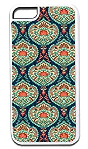 01-Ornate Paisley Case for the APPLE IPHONE 4, 4s -Hard White Plastic Outer Case with Tough Black Rubber Lining