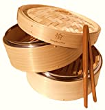 UPDATED MODEL FOR 2019! NEW AMAZINGLY DURABLE8 Inch Bamboo Steamer w/ Stainless Steel Rim/Lightweight Food/Bamboo Basket Fits Standard Size Pots/Asian Food Steamer/Free Storage Bag
