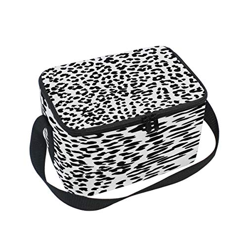 (Use4 Black White Leopard Print Insulated Lunch Bag Tote Bag Cooler Lunchbox for Picnic School Women Men Kids)