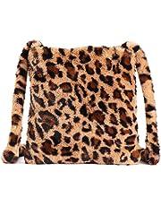 Women Leopard Print Clutch Handbag Plush Faux Fur Tote Bag Gold Metal Chain Shoulder Crossbody Purse