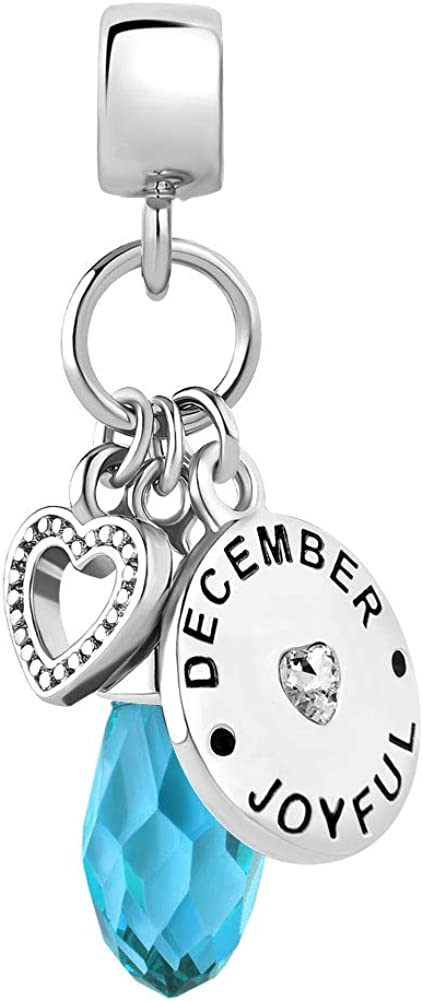 Lifequeen Heart Love Jan-Dec Birthday Simulated Birthstone Charm Beads for Bracelets