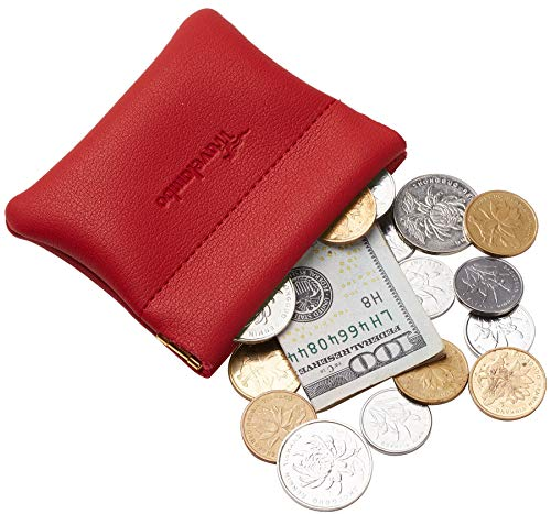 (Travelambo Leather Squeeze Coin Purse Pouch Change Holder For Men & Women (Access Red Classic))