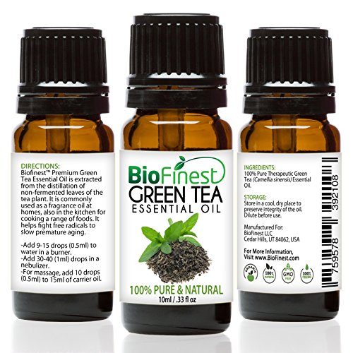 BioFinest Green Tea Oil - 100% Pure Green Tea Essential Oil - Premium Organic - Therapeutic Grade - Best For Aromatherapy - Boost Fat Burning - Anti-oxidant - FREE E-Book (Essential Greens Apple Banana)
