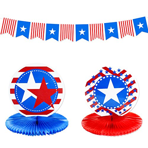 Independence Day Decorations - Banner and Honeycomb Table Centerpiece Sets Red White and Blue Decorations for 4th of July Decor Perfect for Patriotic Decorations, Presidents Day -