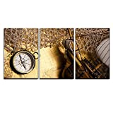 wall26 - 3 Piece Canvas Wall Art - Antique Brass Compass over Old Map - Modern Home Decor Stretched and Framed Ready to Hang - 24''x36''x3 Panels