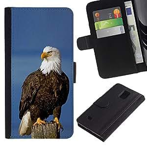 A-type (Eagle American Symbol National Bird) Colorida Impresión Funda Cuero Monedero Caja Bolsa Cubierta Caja Piel Card Slots Para Samsung Galaxy Note 4 IV