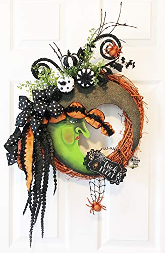 Whimsical Moon Witch Halloween Floral Grapevine Wreath ()