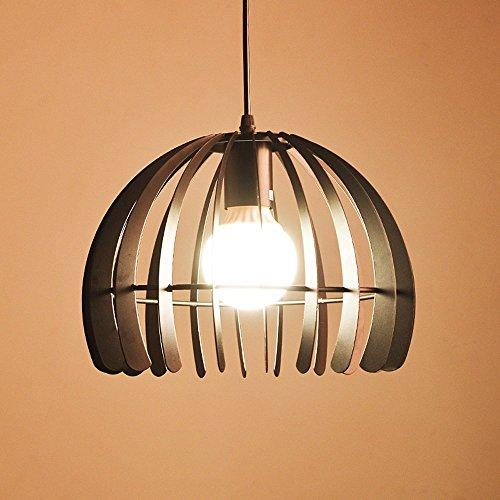 (American Personalized Hemisphere Iron Cage Pendant Lamp Modern Creative Cafe Restaurant Living Room Kitchen Black/White Chandelier Ceiling Light Diameter: 28CM (Color : Black))