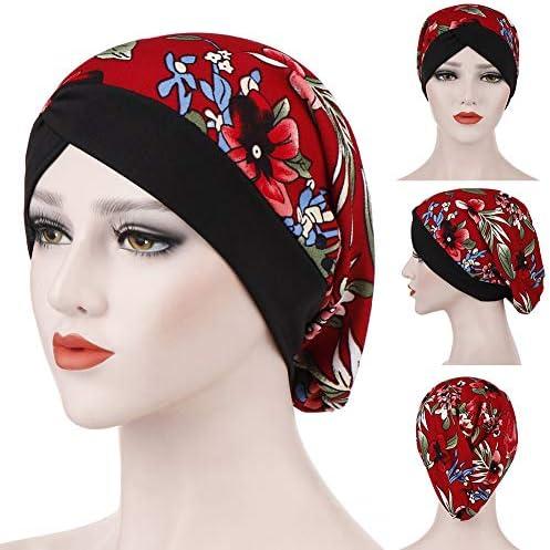 Guoainn Chemo Headwear Turbans Fashion Flower Floral Print Womens Muslim Hijab Turban Head Wrap Hat Cap