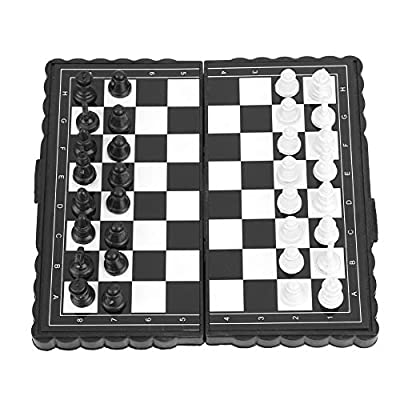 Chess Set-Portable Plastic Folding Chessboard Magnetic Chess Set Game for Party Family Activities: Home & Kitchen