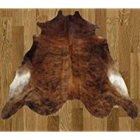Home Must Haves Dark Brown Light Brown Partial Black White Brazilian Approximately 5x8 5 x 8 Feet Cowhide Rug Cow Hide Skin Leather Area Rug