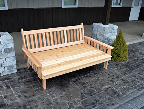 BEST DAYBED HOME FURNITURE & PATIO SEATING, 6' Cedar Traditional Garden Day Bed Bench, For Those Who Love Stylish Porch Décor, Gorgeous in Sun Rooms & Fun Outdoor Living for Deck, Terrace & Pool
