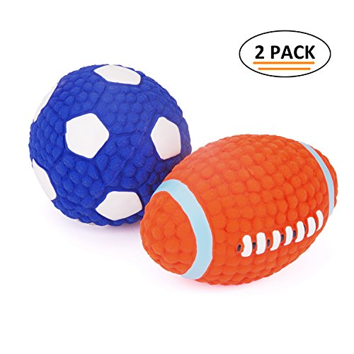 (EETOYS Soft Bouncing Latex Squeaky Floating Toy Fetch Throw Ball For Dog)