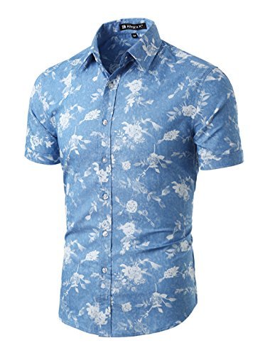 (uxcell Men Casual Floral Print Button Down Short Sleeve Cotton Hawaii Shirt Light Blue Floral Print M US 38)