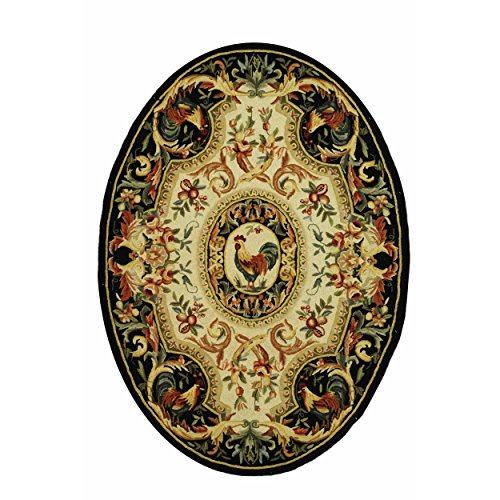 (Safavieh Chelsea Collection HK48K Hand-Hooked Ivory and Black Premium Wool Oval Area Rug (4'6