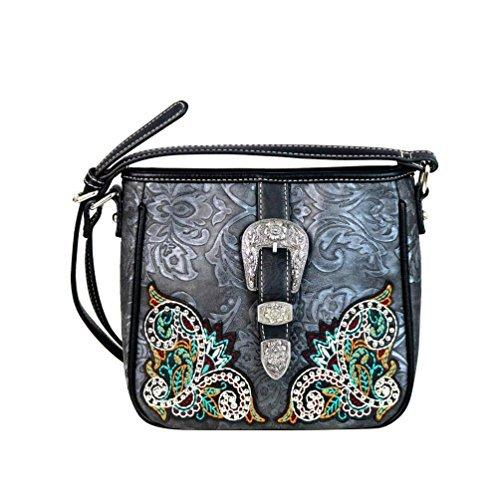 - MW633-8360 Montana West Embossed Buckle Floral Embroidered Crossbody Bag Handbag (Black)