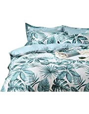 Tropical Palm Leaf Quilt Cover Set, Queen Size Aqua Turquoise Green Doona Cover Set, 3pcs Jungle Plant Design Quilt Cover Set (Queen Size)