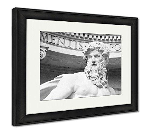 Ashley Framed Prints Neptune Statue of Trevi Fountain Fontana Di Trevi in Rome, Wall Art Home Decoration, Black/White, 30x35 (Frame Size), Black Frame, AG6142858