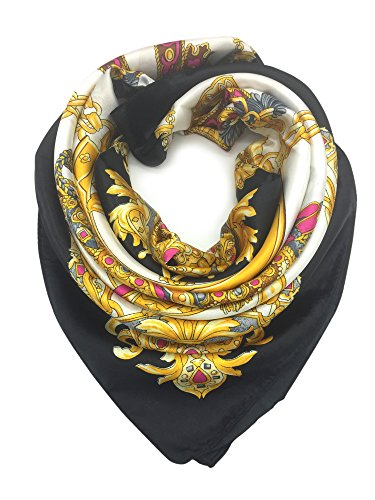 YOUR SMILE Silk Like Scarf Women's Fashion Pattern Large Square Satin Headscarf Headdress Black Chain(5)