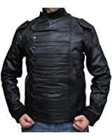 Black Soldier Leather Vest Jacket with Stripes in Winter Casual Style