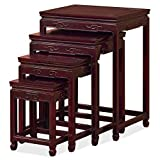 ChinaFurnitureOnline Hand Crafted Rosewood Ming Nesting Tables - Dark Cherry