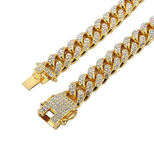 Mandy Hip Hop 12MM Cuban Chains 18K Gold Plated CZ Fully Iced-Out Link Miami Necklace (Gold, 24)