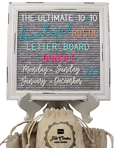 - Rustic Felt Letter Board Ultimate Bundle Farmhouse Vintage White Wood Frame and Stand by Felt Creative Home Goods (Gray, 10x10 Inches)