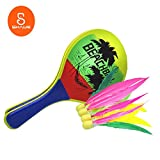 Badminton for Kids,Newest Easiest Racket Game all over the world,Best for Boys & Girls Ages 6+,Also for adults at all age,Indoor and Outdoor Paddle Game,Amazing Choice for Exercising(Yellow-Wooden)