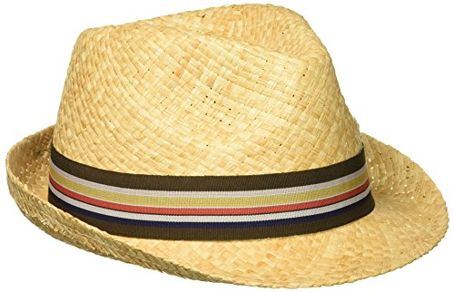 Henschel Men's Hand Woven Soft Straw Fedora with Striped Band, Raffia, Medium (Striped Mens Fedora)