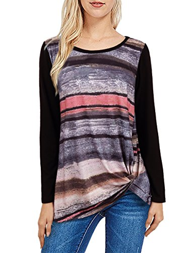 (UXELY Multi Color T Shirt,Female Comfortable Colorblock Tops for Women Tunic Shirt Pink M)