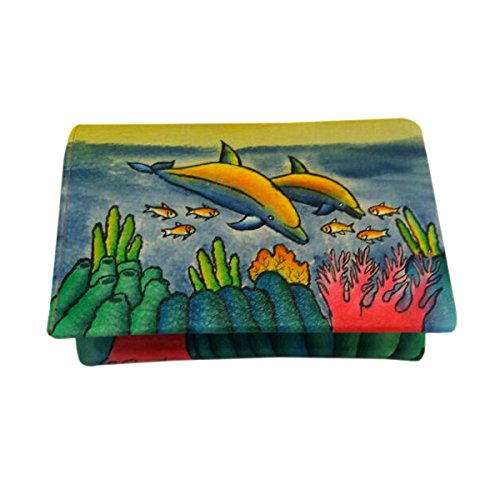 Genuine leather money card organizer Large Womens Luxury Coin Purse Hand Painted (Playful - Hand Painted Dolphin