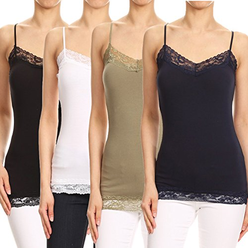 RouA 209S-1 Basic Long Tank with Lace Trim Top B,W,Ol,Nv (S)
