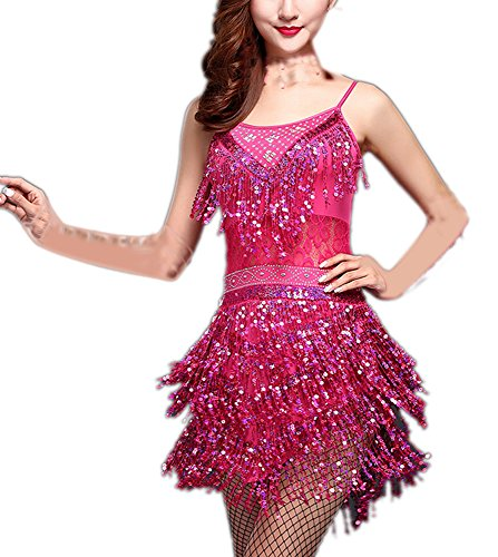 Fashion Gatsby Flapper Era Dance Bridesmaid Fancy Outfits Costumes Attire Pink ()