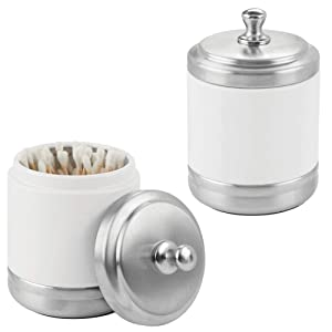 mDesign Metal Bathroom Vanity Storage Organizer Canister Jar for Cotton Balls, Swabs, Makeup Sponges, Bath Salts, Hair Ties, Jewelry - 2 Pack - Matte White/Brushed