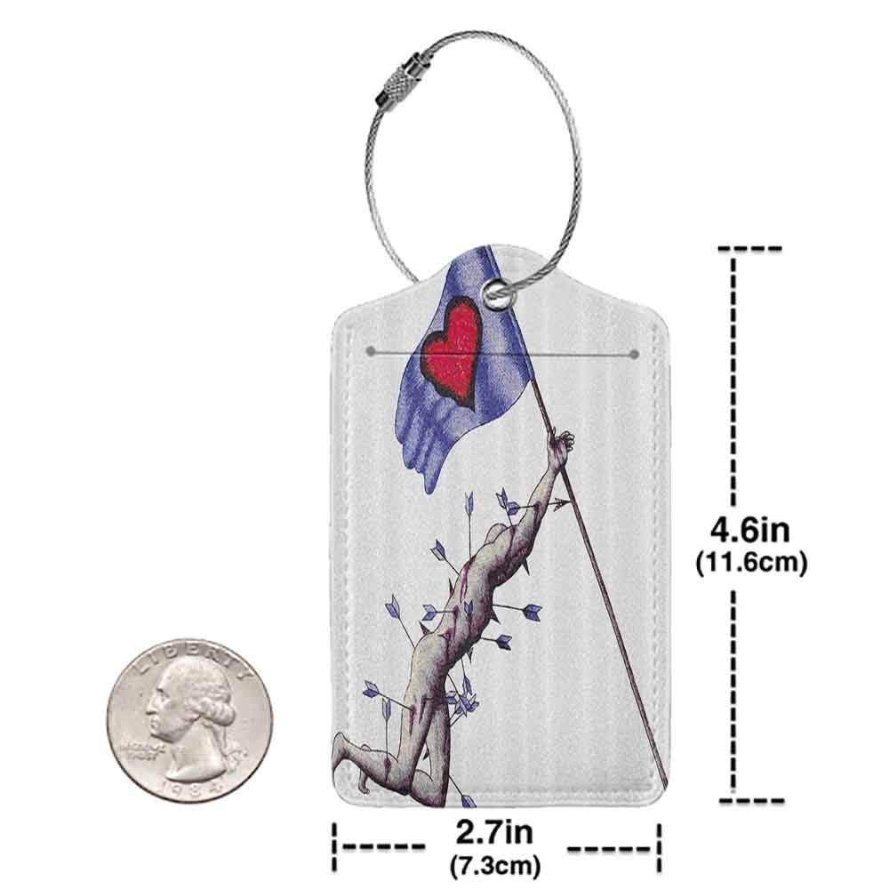 Soft luggage tag Love Decor Warrior Wounded by Arrows Holding Flag of Valentines When Dying Love Illustration Bendable Blue White W2.7 x L4.6