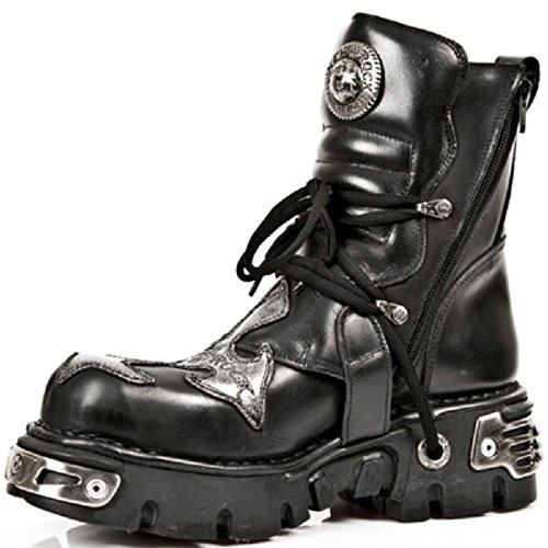 New Rock Stiefel Schwarz 407-S1 Silber Kreuz Reactor Sohle Rabatt Preis Angebot