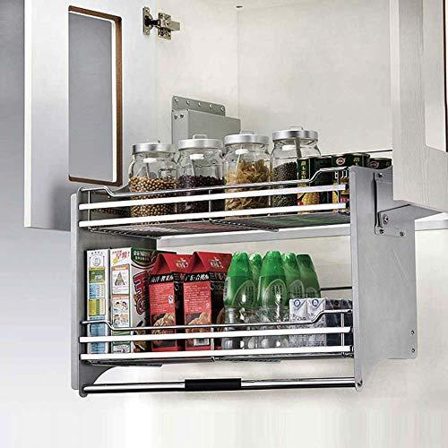 (Kitchen basket Iron Chrome Plating Cabinet Racks, Double Layer Drawer Type Seasoning Basket Dish Rack Storage Rack, Multifunction, 4th Gear Non-Slip, Cabinet Accessories)