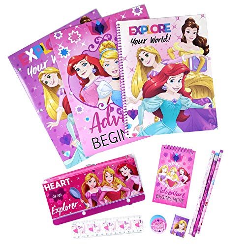 (Disney Princess Kids Stationery Set - Perfect for Back to School and Party Gift Bags - Includes Pencil Case, Folders, Pencils, Notepad, Notebook, Ruler and Eraser)
